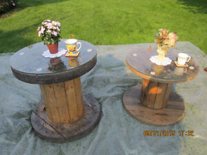 For Sale: Beautiful varnished wood cable spool coffee tables Belleville Belleville Area image 1