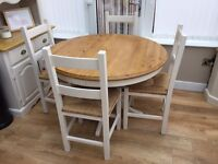 Farmhouse shabby chic dining table 4 chairs