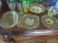 Lot of Yellow Depression Glass... no chips or cracks