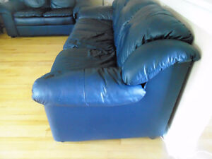 Gorgeous Navy Blue Leather Sofa and Love Seat