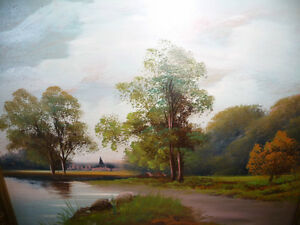 "Original Oil Painting ""Early Summer Path"" Vintage Early 1900's Stratford Kitchener Area image 10"