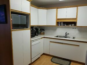 kitchen cabinets, counter top, sink,faucet,dishwasher,fridge