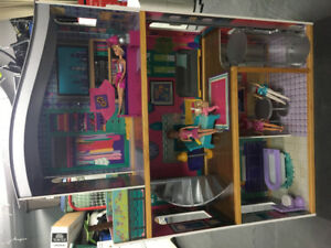 Modern Dollhouse with Furniture and Barbies Included