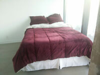 Plush Queen mattress with pillows sheets and comforter for sale