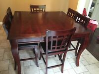 Large pub style table and 8 chairs