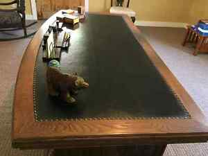 Early 20th Century Solid Oak 72 inch Leather Top Executive Desk Kingston Kingston Area image 4