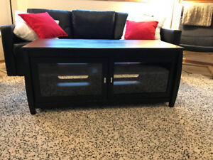 Modern media cabinet with glass doors