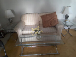 Glass and chrome coffee and end tables with chrome lamps!!!