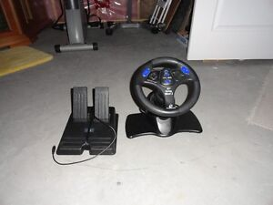 Steering wheel and accelerator/brake pedals for electronic games