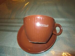 TWO LARGE HOT CHOCOLATE CUP & SAUCER