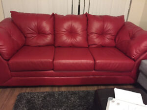 Max Faux Red Leather Sofa from the Brick