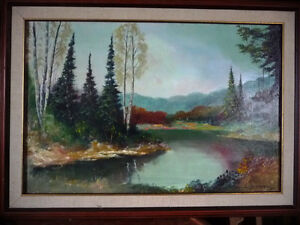 "Original Painting by Listed Artist Ernest Burrows ""Fishing Hole"""