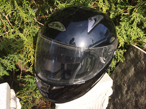 Motorcycle helmet and leather jacket