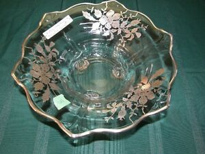Sterling Silver Overlay Footed Crystal Bowl