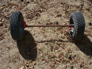 axle with rubber wheels