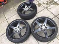 """3 x 19"""" MAGNUM MVR ITALIAN ALLOY WHEELS WITH TYRES 235/35/19 OPEN TO OFFERS"""