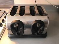 RUSSELL HOBBS 4 SLICE TOASTER, BLACK AND CHROME EFFECT GOOD CONDITION INC FREE DELIVERY ONLY £5.00