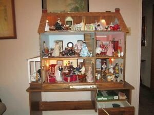 Stunning all wood, lighted mansion doll house.