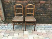Pair Of Old Oak Bedroom/Dining Chairs With Leather Tops - Can Deliver