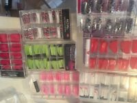 Job lot of nail tips NSI, colour, patterns, full well, pop off forms