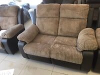 Brand New Leather And Jumbo Cord Reclining 2 Seater Sofa