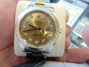 ROLEX Datejust  Champagne Diamond Dial Stainless Steel and 18kt