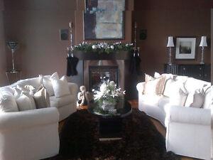 Beautiful, white matching designer couches