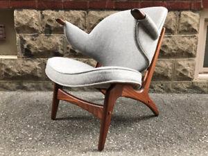 Rare Danish Lounge Chair (newly upholstered)- Mid Century / Teak