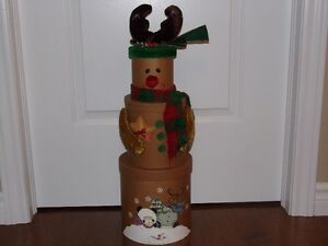 Decorative 3 tier snowman containers