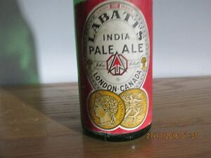 + Labatts India Pale Ale Botte + Green Glass + London Ontario image 5