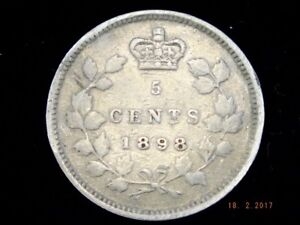 Silver Five Cent - 1898 - ICCS Graded Fine 12