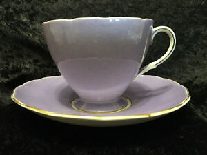 Foley Fine Bone China - Purple Rose Floral - Tea Cup and Saucer