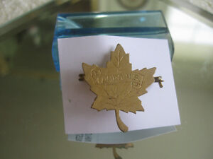OLD VINTAGE  ['60's] MAPLE LEAF GOLDTONE PIN with TRURO ENGRAVIN