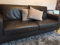 Brown Leather 4 Seater Sofa in Very Good Condition
