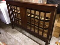 Antique double bed frame - wooden