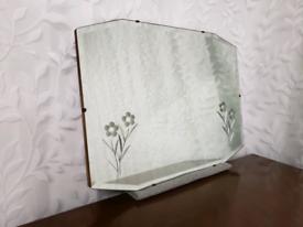 Vintage art deco frameless mirror etched flowers bevelled