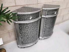 2x Black & Silver Embossed Patterned Corner Cabinet