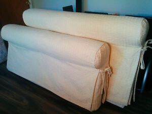 Quilted Queen Bed, Serta Mattress and metal wheeled frame $550 Kingston Kingston Area image 1