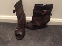 Brown peep toe boots size 4