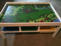 Large train table with 6 storage bins