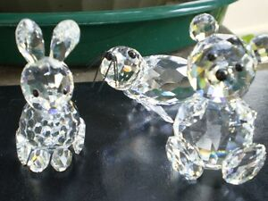Swarovski Crystal Seal- Crystal Rabbit- Crystal Bear Figurines
