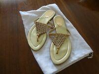 Bebe gold & crystal sandals