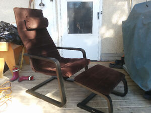 Ikea Poang chair with footrest