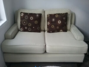 Contemporary Cream Fabric Love Seat