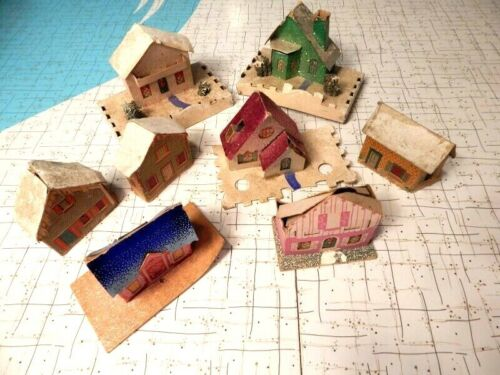 Vintage Cardboard Paper Mache Flocked Glitter Christmas Wall Hanging Houses Lot