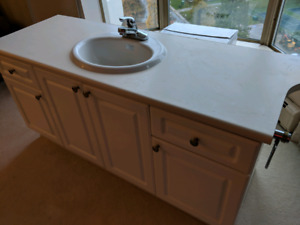 Cabinets, countertop, sink and faucet