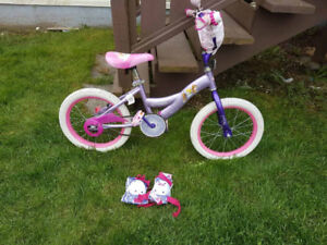 Girls 12in bike with training wheels, knee pads and elbow pads $