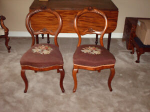 1850's VICTORIAN ANTIQUE  MAHOGANY CHAIRS