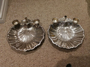 Silver plated shell serving platters