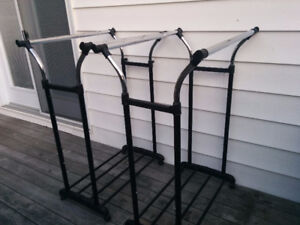 Stainless Steel, Adjustable Height DOUBLE ROD Clothing Racks